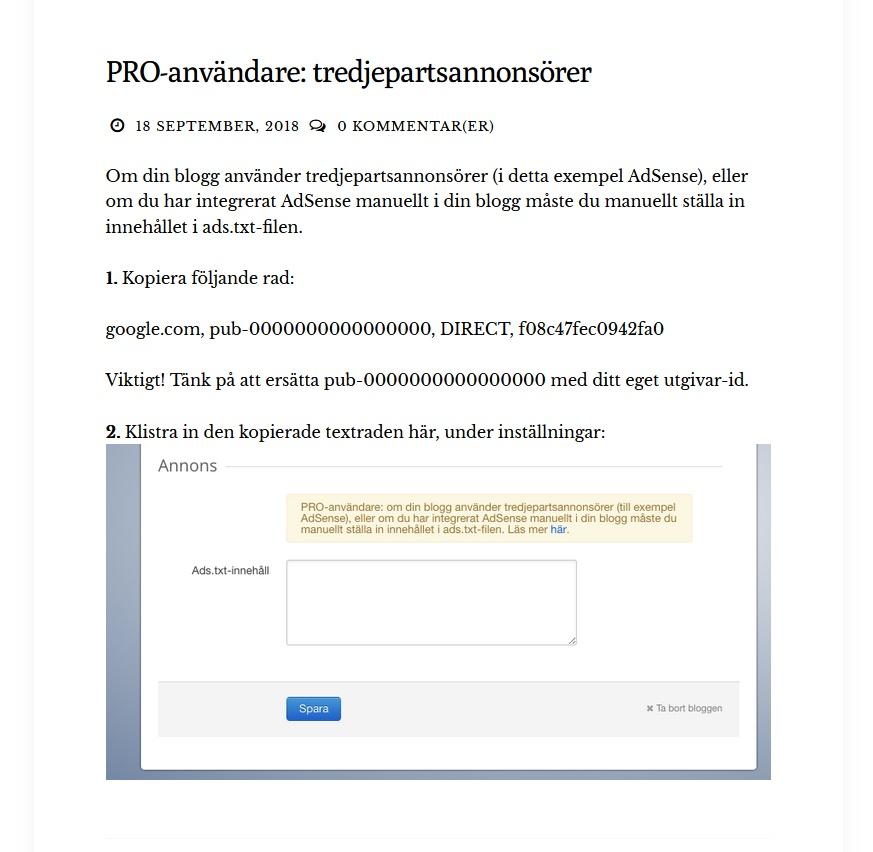 Blogg.se Pro-användare och tredjeparts-annonsörer