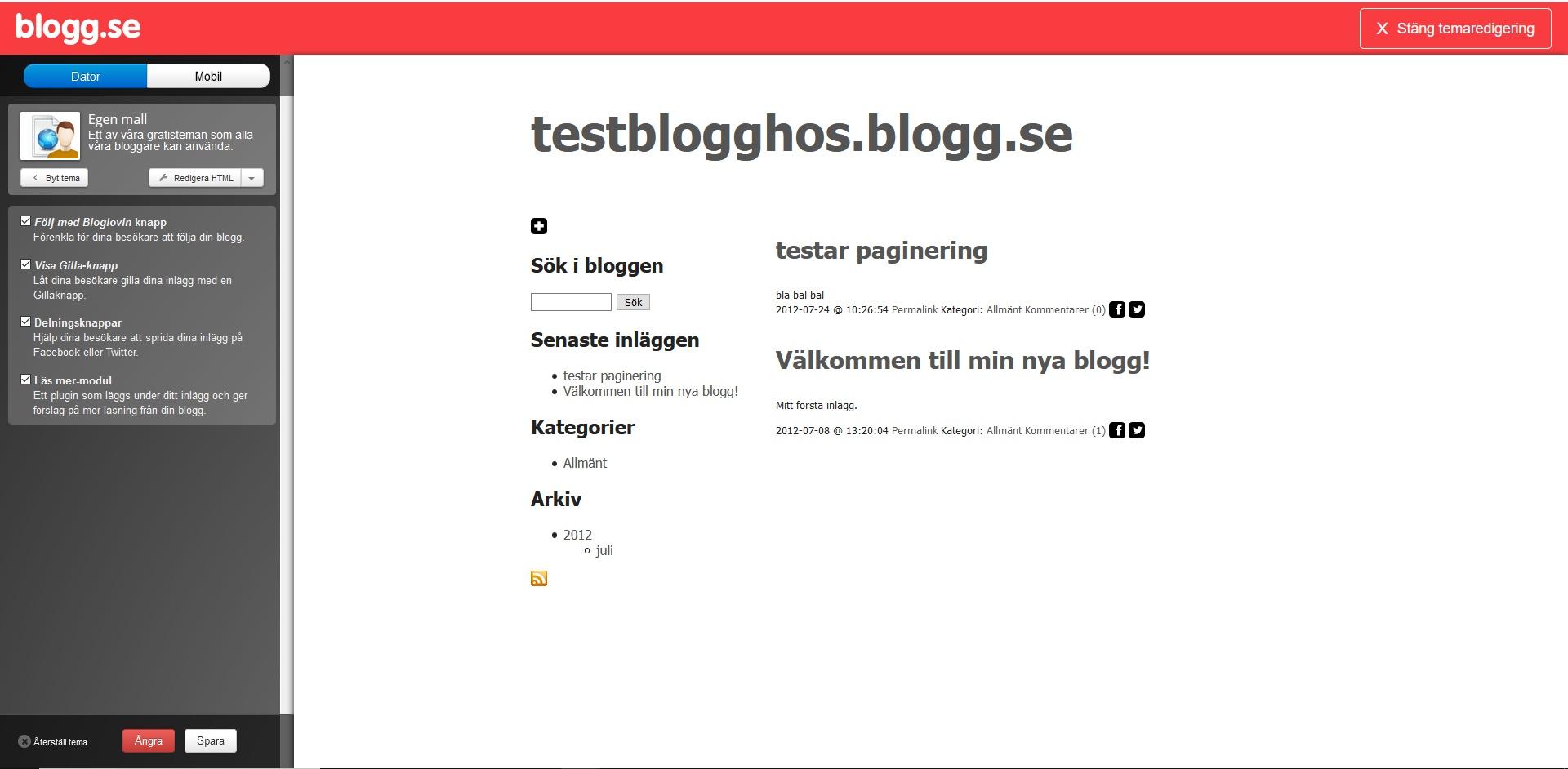 blogg.se editor. Nybörjarguide WordPress DNS SEO.
