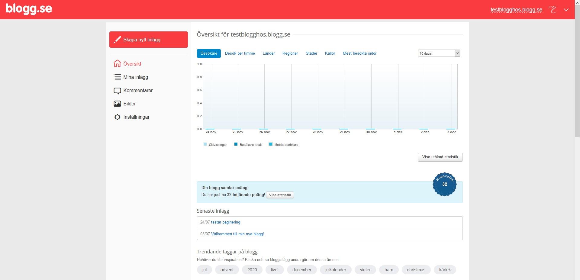 blogg.se kontoöversikt. Nybörjarguide WordPress DNS SEO.