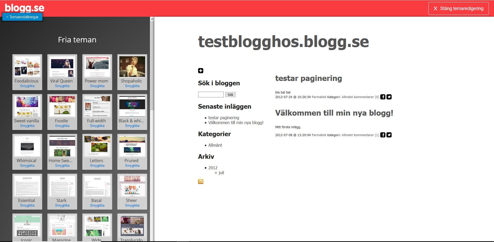 blogg.se temainställningar. Nybörjarguide WordPress DNS SEO.