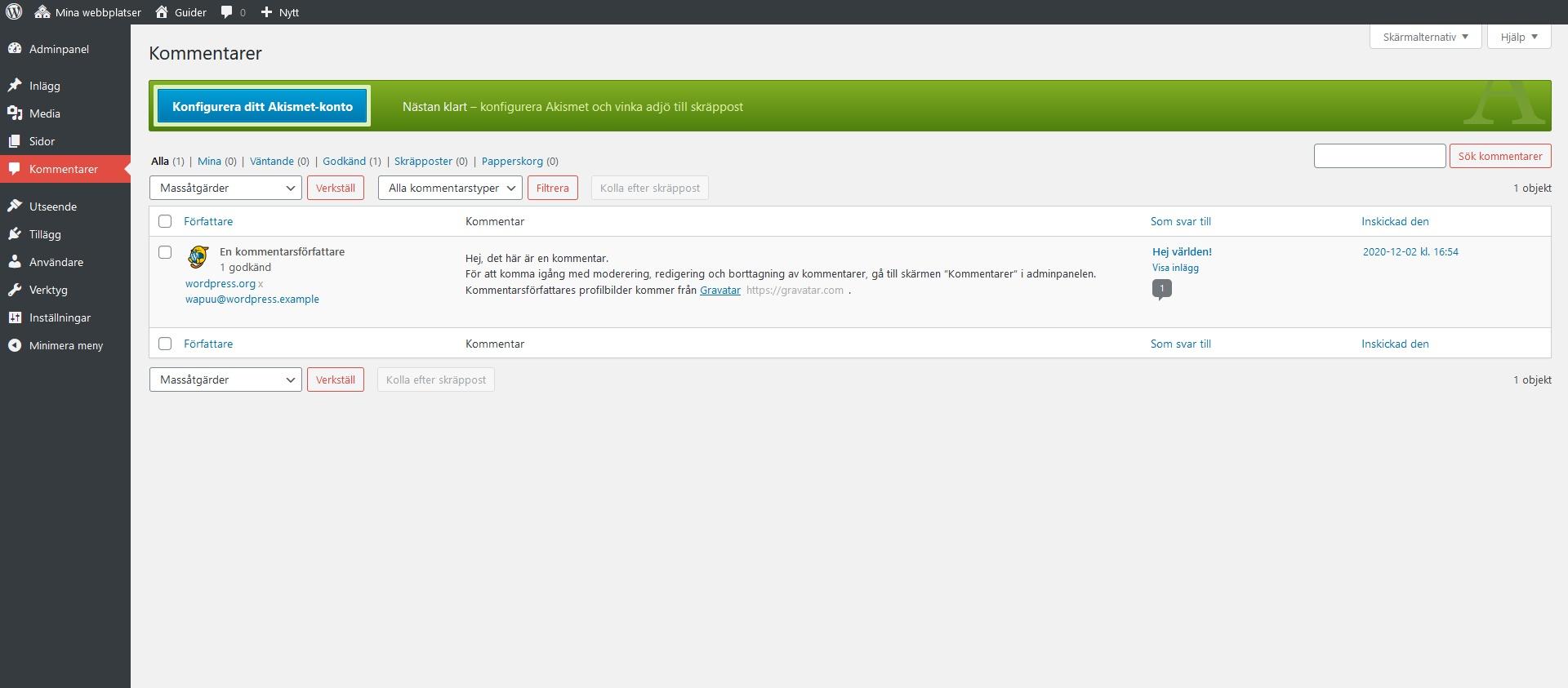 Akismet och kommentarer. Nybörjarguide WordPress DNS SEO.